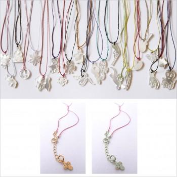 Collier fil de soie pendentif en nacre - argent 925 ou plaque or - Bijoux modernes - Gag and Lou - bijoux fantaisie