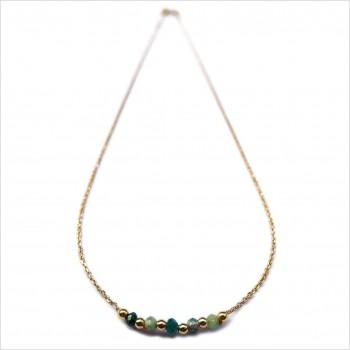 Collier sur chaine en plaqué or pierres fines rubis soizte et perles - Bijoux modernes