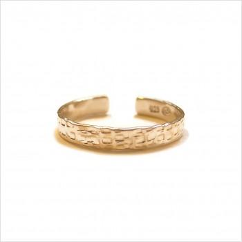 Bague anneau simple martelé en plaqué or ajustable - bijoux fins et intemporels