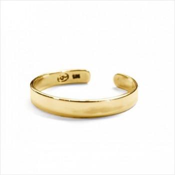 Bague anneau en plaqué or ajustable lisse - bijoux fins de créateur