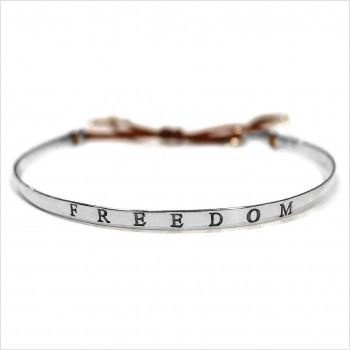 Jonc gravé message freedom en argent - bijoux fins et tendances