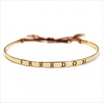 Jonc gravé message freedom en plaqué or - bijoux fins et tendances