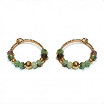 Boucles d'oreilles créoles 15 mm en plaqué or et pierres fines en rubis soizite - Bijoux tendances
