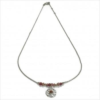 Collier sur chaine en argent pierres fines tourmaline médaille ronde martelée - Bijoux tendance
