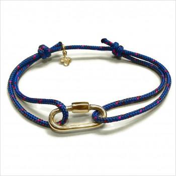 Mousqueton en plaqué or sur cordon bateau bleu ajustable - bijoux intemporels de créateur