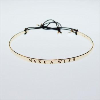 Jonc gravé message Make a wish en plaqué or - bijoux fins et intemporels