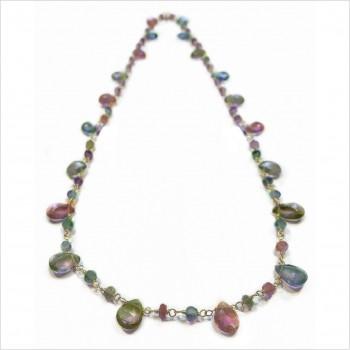 Collier plaqué or sur chaine de pierres fines en tourmaline multicolore - Bijoux moderne