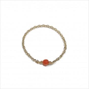 Bague fine sur chaîne en Plaqué or avec pierre fine en corail - Bijoux fins et intemporels