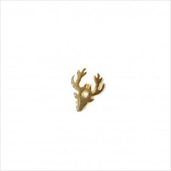 Boucles d'oreilles puce tête de Renne en plaqué or - Bijoux fins de créateur