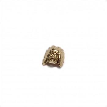 Boucles d'oreilles puce tête d'indien en plaqué or - Bijoux fins de créateur