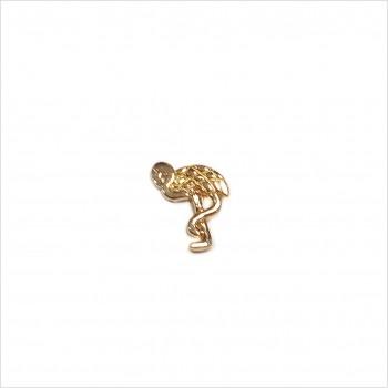 Boucles d'oreilles puce flamant rose en plaqué or - Bijoux fins de créateur