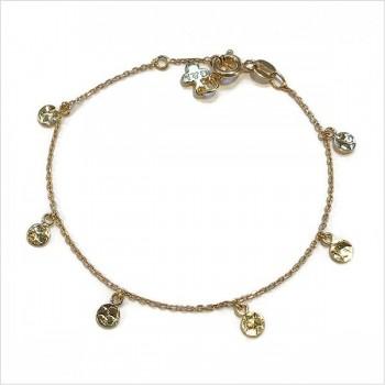 Bracelet sur chaine plaqué or minis médailles martelées - Bijoux fins et intemporels