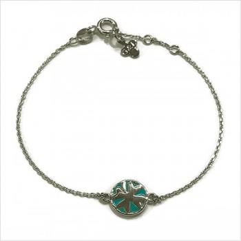 Bracelet émaillé sur chaine argent médaille trèfle émeraude - Bijoux modernes - Gag et Lou - bijoux fantaisie
