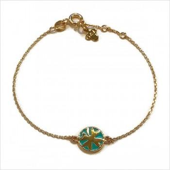 Bracelet émaillé sur chaine en plaqué or médaille trèfle émeraude - Bijoux modernes - Gag et Lou - bijoux fantaisie