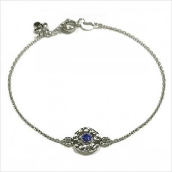 Bracelet Delhi martelé médaille bleue saphir en argent - Bijoux modernes - gag and Lou - Bijoux fantaisie