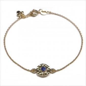 Bracelet chaine médaille martelée bleue en plaqué or - Bijoux fins et originaux