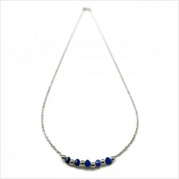 Collier sur chaine en argent pierres fines lapis lazuli et perles - Bijoux modernes