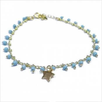 Bracelet India en plaqué or sur chaine perlée bleue et charms étoile - Bijoux modernes - Gag et Lou- bijoux fantaisie