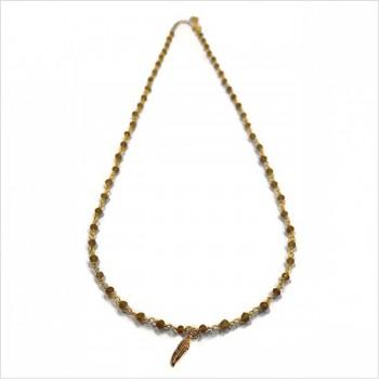 Collier Faro sur chaine plaqué or en Quartz fumé et charms plume - Bijoux modernes - Gag et lou - bijoux fantaisie
