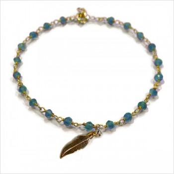 Bracelet Faro sur chaine plaqué or en apatite et charms croix - Bijoux modernes - Gag et lou - bijoux fantaisie