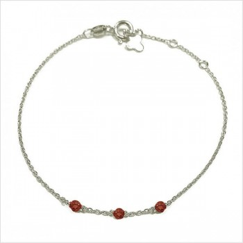 Bracelet 3 microstones grenat en argent - bijoux modernes - gag et lou - bijoux fantaisie