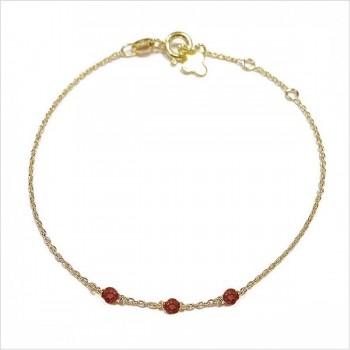 Bracelet 3 microstones grenat en plaqué or - bijoux modernes - gag et lou - bijoux fantaisie