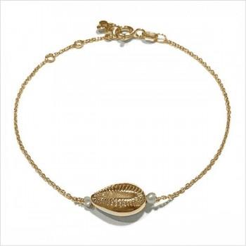 Bracelet Cauris et perle d'eau douce en plaqué or - Bijoux modernes - Gag et Lou - bijoux fantaisie
