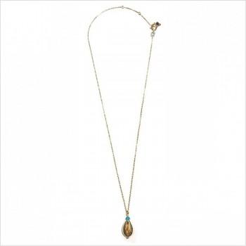 Collier Cauris et turquoise en plaqué or - Bijoux modernes - Gag et Lou- bijoux fantaisie