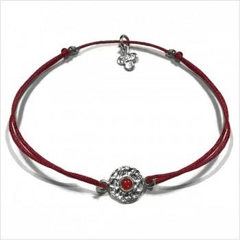 Médaille martelée Delhi argent sur lien rouge taille ajustable - Bijoux modernes - Gag and Lou - bijoux fantaisie