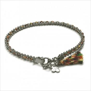 Bracelet gourmette boules en argent enfilé d'un lien soyeux de couleur - Bijoux fins et fantaisies