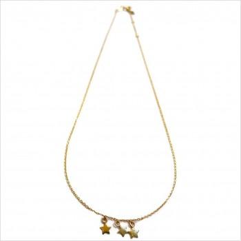 Collier sur chaine pendentifs trois petites étoiles en plaqué or - Bijoux fantaisie