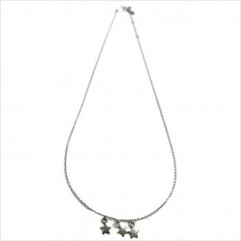 Collier sur chaine pendentifs trois petites étoiles en argent - Bijoux fantaisie