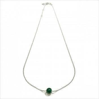 Collier sur chaine en argent pierre ronde malachite verte - Bijoux délicat