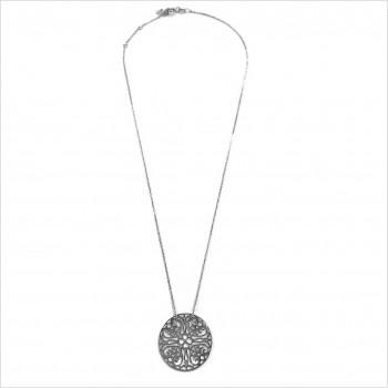 Collier médaille ronde dentelle sur chaîne  en argent - Bijoux modernes