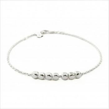 Bracelet sur chaine semainier 7 perles facettées en argent - Bijoux fins et fantaisies