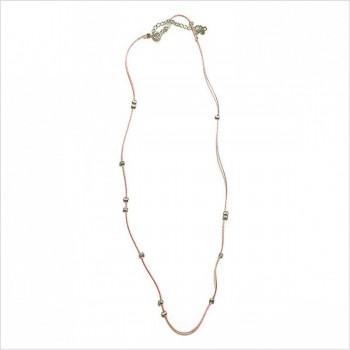 Collier sur lien en soie perlé de couleur rose en argent - Bijoux délicat