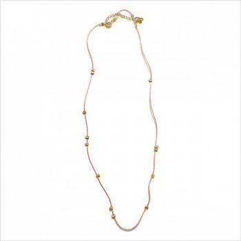 Collier sur lien en soie perlé de couleur rose en plaqué or Bijoux fins et originaux