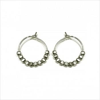 Créoles 15 mm en argent avec perles à écraser - Bijoux fins et intemporels
