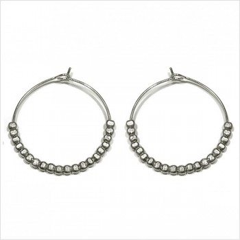Créoles 30 mm en argent avec perles à écraser - Bijoux fins et fantaisies