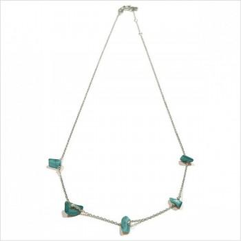 Collier en argent 5 pierres fines irrégulières en turquoise - Bijoux modernes