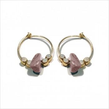 Créoles 15 mm plaqué or avec perles facettées et pierre fine Rhodochrosite rose - Bijoux fins et intemporels