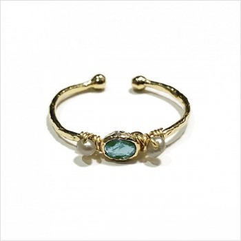 Bague martelée 2 boules plaqué or sertie de deux perles fines et pierre de couleur turquoise - Bijoux délicat