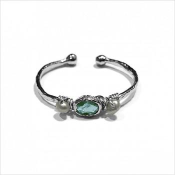 Bague martelée 2 boules en Argent sertie de deux perles fines et pierre de couleur bleu turquoise - Bijoux fins et originaux
