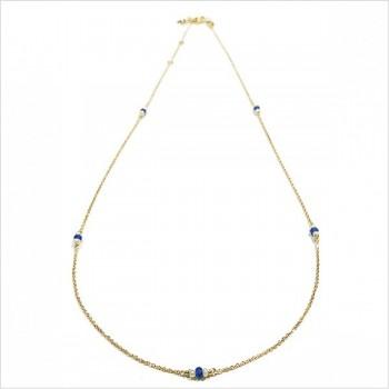 Collier Joséphine sur chaine plaqué or lapis lazuli et perle fines - Bijoux modernes - gag et lou - bijoux fantaisie