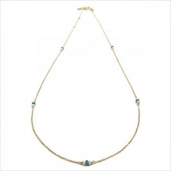 Collier sur chaine plaqué or turquoise et perle fines - Bijoux fins et modernes