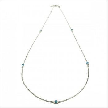 Collier sur chaine en argent apatite et perle fines - Bijoux moderne