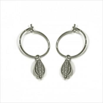 Boucles d'oreilles créoles mini coquillage cauris en argent - Bijoux délicat
