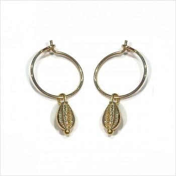 Boucles d'oreilles créoles mini coquillage cauris en plaqué or - Bijoux délicat