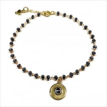 Bracelet Chapelet sur chaine perlée et médaille anthracite plaqué or - Bijoux fins et fantaisies