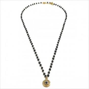 Collier Chapelet sur chaine perlée Anthracite avec médaille assortie - Bijoux modernes - Gag et lou - bijoux fantaisie